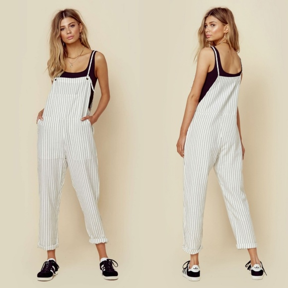 Amuse Society Pants - Amuse Society Feeling Good Striped Overalls Size S
